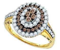 Cognac Diamond Fashion Ring in 10k Gold 1 ctw - Rings - Jewelry at Viomart.com