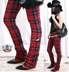Jambe droite punk Tartan Plaid rouge Legging Long thermique S.M.L