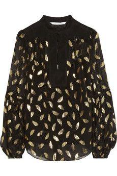Diane von Furstenberg Isolde leaf-jacquard silk-blend chiffon top | NET-A-PORTER