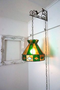 70s Vintage Leaded Stained Glass Swag Lamp Hanging Light