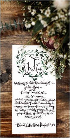 Wedding program, parchment, black calligraphy, monogram, leaves // Marc Andreo Photography