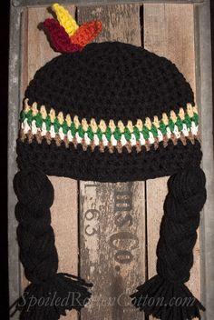 Indian Girl Crochet Hat Wig Infant Toddler Adult Thanksgiving Photo Prop #SpoiledRottenCotton