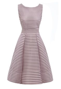 You'll be looking lovely in lilac in this gorgeous structured skater dress. With textured mesh detailing following a horizontal pattern, the dress offers a flattering fit with the waistband to nip in the waistline and the structured skirt to create a curvaceous silhouette, this is a sophisticated and feminine choice for a wedding or an office party.   Mesh textured detailing Skater dress Structured skirt V open back Rear zip fastening Knee length  Team LBD Recommends: Matc...