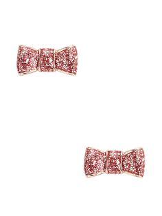 kate spade pink glitter bow stud earrings - on sale for $19!