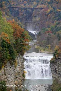 This was the view of the Upper and Middle Falls with the Portage High Bridge way up above both falls as seen from Inspiration Point, Letchworth State Park / Livingston County / Wyoming County, near Castile / Portageville, New York, USA