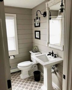 Farmhouse bath remodel by with gorgeous shiplap walls! Beautiful Farmhouse Bathroom Design and Decor Ideas You Will Go Crazy For Bathroom Renos, Bathroom Renovations, Home Remodeling, Pedastal Sink Bathroom, Mirror Bathroom, Bathroom Vanities, Half Bathroom Remodel, Bathroom Cabinets, Shiplap Bathroom Wall