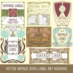 vecteur vintage articles : étiquette art nouveau Banque d'images