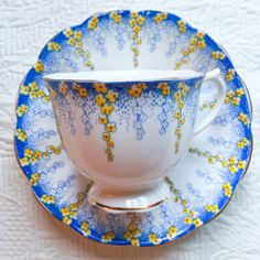 Remarkable Royal Albert Blue April Showers 1930's Teacup and Saucer