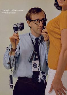 Woody Allen featured in Playboy special report on camera culture, 1966 Woody Allen, New Lyrics, Classic Camera, Toms, Famous Photographers, Jim Morrison, Vintage Cameras, Camera Photography, Love Photos