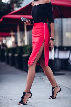 CharMma Sexy Rouge Crayon Jupes Femmes Bandage Taille Haute Zipper Fente Midi Jupe 2017 D'é Skirt Outfits, Sexy Outfits, Dress Skirt, Casual Outfits, Fashion Outfits, Sexy Skirt, Work Outfits, Midi Skirt, Beauty And Fashion
