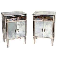Pair of Painted Mirrored Tables, Nightstands or Commodes | From a unique collection of antique and modern end tables at http://www.1stdibs.com/furniture/tables/end-tables/