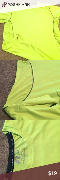 ❄️CoolForce Tech Running Shirt w/Zip Pocket! Russell CoolForce Neon Yellow workout/running shirt with zipper pocket on right side. Vented technology from underarm to hip. Wicked comfy and convenient. Worn once but it didn't fit. Stored in temp controlled closet for 3 months since purchase russell Shirts Tees - Short Sleeve