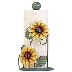 Collections Etc Metal Sunflower Paper Towel Holder, Yellow Image 1 of 3 Paper Towel Rolls, Paper Towel Holder, Towel Holders, Biscuit, Sunflower Kitchen Decor, Sunflower Room, Collections Etc, Pretty Room, Classic Home Decor