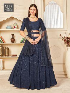 Rs5,600.00 Lehenga Dupatta, Lehenga Choli Online, Anarkali Suits, Navy Blue Lehenga, Navy Blue Blouse, Navy Blue Color, Party Wear Lehenga, Saree Shopping, Georgette Fabric