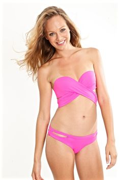 pink bikini bottom - cutout - The 2016 Resort Glam collection is here, the Balata pink cutout bikini bottom being one of our favorite pieces. Choose between full, Latin, or cheeky coverage depending on how much of your assets you want to show off!