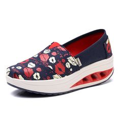 2017 Spring Summer Women Casual Canvas Shoes Round Toe Hight Increasing Slip on Flat Casual Shoes Woman Loafers Size 35-40 2173