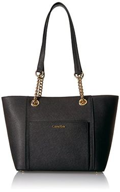 00f26a99a Calvin Klein Key Item Saffiano Front Pocket Chain Tote Blk/Gold ** Visit the  image link more details. (This is an affiliate link)