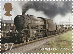 a stamp design with a colour photo of a steam engine on it