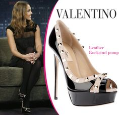 Jessica Alba in Valentino studded peep-toe platform pumps [CELE067] - $227.00 : Discounted Christian Louboutin,Jimmy Choo,Valentino Shoes Online store