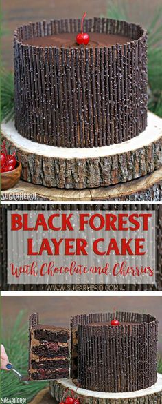 Black Forest Cake - the classic chocolate-cherry cake! Chocolate cake, cherry filling, and chocolate twigs!   From SugarHero.com