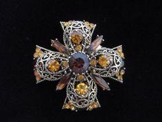 Vintage Large Faceted Rhinestone Filigree 3D Browns Brooch Pin