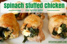 Step by step guide on how to make Spinach Stuffed Chicken. Follow the easy photo guide and have a real whole food dinner ready in no time at all. Gluten free, grain free, whole food and healthy. | ditchthecarbs.com