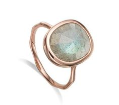 Siren Medium Stacking Ring in 18ct Rose Gold Plated Vermeil on Sterling Silver with Labradorite  Jewellery ...