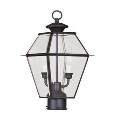 2-Light 17 in. Bronze Finish Clear Beveled Glass Outdoor Post Head-CLI-MEN2284-07 at The Home Depot