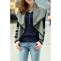 Wholesale Stylish Turn-Down Collar Long Sleeve Color Block Jacket For Women Only $12.20 Drop Shipping | TrendsGal.com