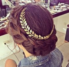 LOVE this braided updo and leaf head-band.