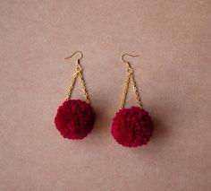 Pompom earrings red fluffy earrings odd by pleasureispretty