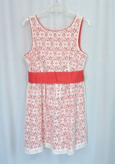 NEW Juniors XXI FOREVER 21 Ivory Lace Coral Lining/Belt Empire Waist Dress, SZ L #FOREVER21 #EmpireWaist #Casual