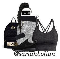 """*__*"" by sariahbolian ❤ liked on Polyvore featuring Moschino, H&M and NIKE"