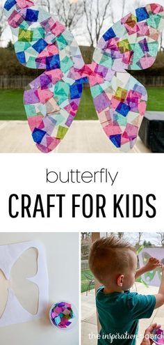 This stained glass butterfly craft is easy to make and will add beautiful colors to your window! #kids #kidscrafts #crafts #craftsforkids #diycrafts #kidsactivities #activitiesforkids #butterfly #butterflycrafts #butterflies #theinspirationboard Butterfly Outline, Glass Butterfly, Butterfly Crafts, Paper Crafts For Kids, Diy For Kids, Easy Crafts, Hungry Caterpillar Craft, Construction For Kids, Wire Crafts