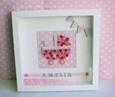 Personalised Baby Name Button Pram Feet Deep Box Picture Frame Nursery Decor by Personal Touches