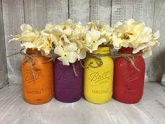 Set of 3 Quart MASON JARS, Painted Mason Jars, Mason Jar Vases, Shabby Chic, Weddings, Showers, Decor, Vintage Jar, Antique Jar by BowtiqueBurlap on Etsy