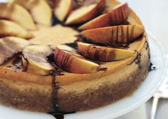 Peach and Mascarpone Cheesecake with Balsamic Syrup - Bon Appétit