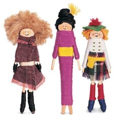 In Guatemala, kids tell their troubles to worry dolls- tiny figures that they tuck under their pillows at night. Take this tradition worldwide with a multicultural collection of clothespin dolls.