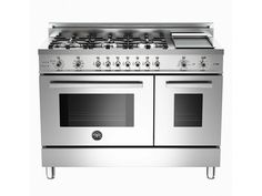 48 6-Burner + Griddle, Electric Self-Clean Double Oven | Bertazzoni - Stainless