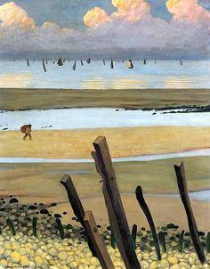 Low Tide at Villerville by Felix Edouard Vallotton o