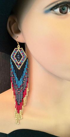 Luxury Glass Seed Bead Earrings Native American Beaded Statement Shoulder Dusters Ethnic Gift For Her Zircon Gunmetal Cranberry Red Gold Seed Bead Jewelry, Seed Bead Earrings, Seed Beads, Beaded Jewelry, Diamond Earrings, Beaded Bracelets, Bridal Jewelry, Leaf Earrings, Beaded Earrings Native