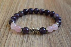 elephant bracelet rose quartz bracelet yoga bracelet amethyst bracelet elephant jewelry meditation b Elephant Jewelry, Elephant Bracelet, Beaded Earrings, Beaded Bracelets, Stretch Bracelets, Handmade Bracelets, Handmade Jewelry, Rose Quartz Bracelet, Yoga Bracelet