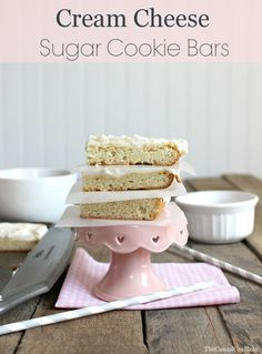 Cream Cheese Sugar Cookie Bars www.thecasualcraftlete.com