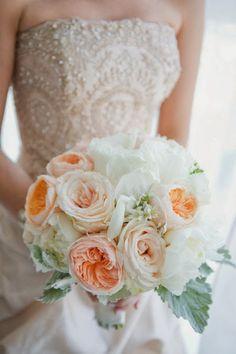garden rose and dusty miller bouquet by Saffron