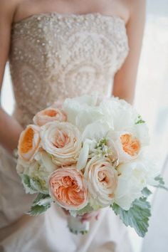 garden rose and dusty miller bouquet by Saffron