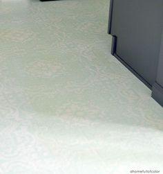 painted linoleum floor and stencil