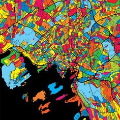 Oslo Norway Colorful Map by Hebstreit #map #gift #beautiful #download #digital #vector #art #stockimage #hebstreit