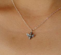 Honeybee Necklace on Sterling Silver bee necklace by Popsicledrum, $28.00