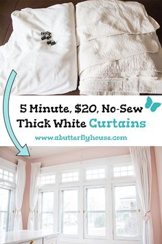 Cheap and Easy, No-Sew DIY Curtains Need some budget curtains? Check out this easy diy for thick, quick, and cheap DIY curtains made from drop cloths and sheets! Sheet Curtains, Thick Curtains, Diy Curtains, Privacy Curtains, Drop Cloth Curtains, Curtains Living, Blackout Curtains, Diy Home Decor On A Budget, Easy Home Decor
