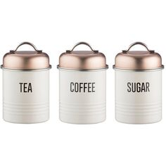 Typhoon Tea, Coffee And Sugar Canisters (€40) ❤ liked on Polyvore featuring home, kitchen & dining, food storage containers, sugar canister, tea jar, coffee cannister, tea sugar canisters and alabaster jar